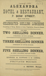 Advert for the Alexandra Hotel & Restaurant
